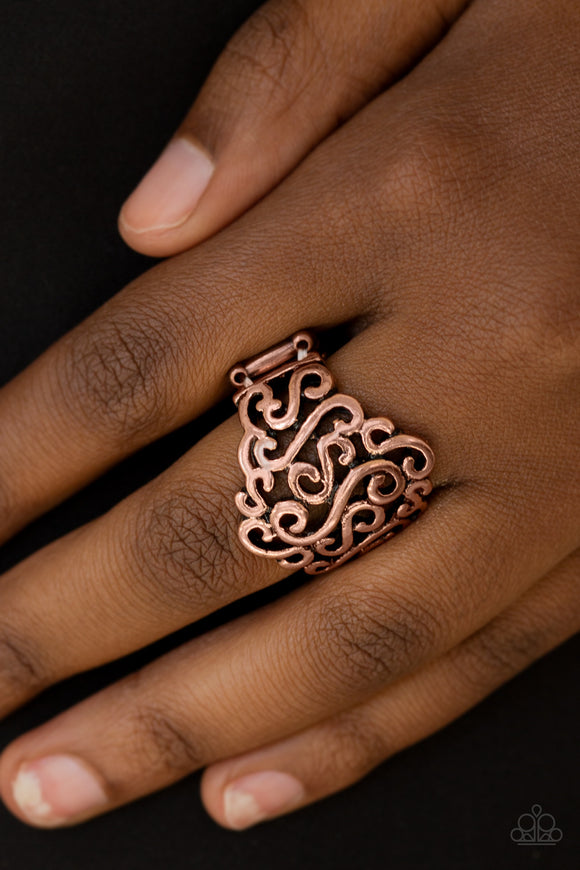 Paparazzi Dizzy Demure - Copper - Filigree Ring - Lauren's Bling $5.00 Paparazzi Jewelry Boutique