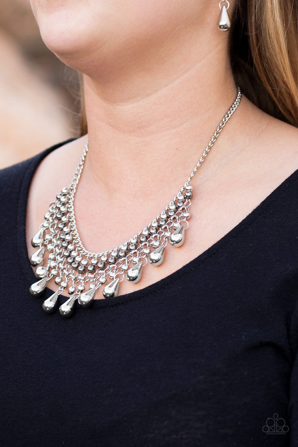 Paparazzi Dont Forget To BOSS! - Silver - and Gunmetal Beads - Edgy Fringe Necklace & Earrings - Lauren's Bling $5.00 Paparazzi Jewelry Boutique