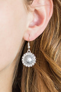Paparazzi Fashion Show Celebrity - Silver - White Rhinestones - Earrings