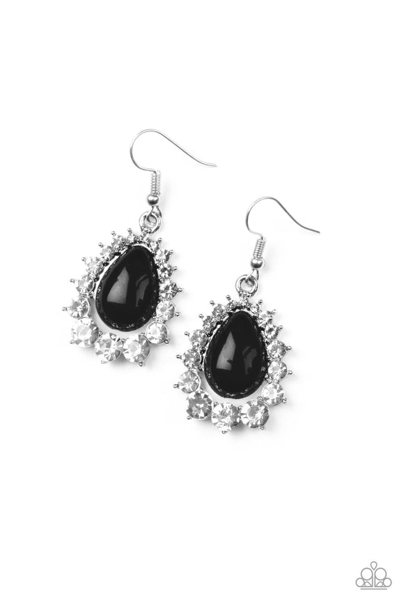 Paparazzi Regal Renewal - Black Bead - White Rhinestones Earrings - Lauren's Bling $5.00 Paparazzi Jewelry Boutique