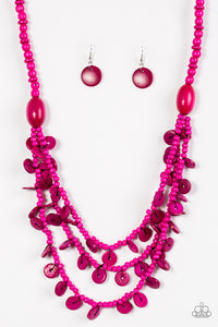 Paparazzi Safari Samba - Pink Wooden Necklace and matching Earrings - Lauren's Bling $5.00 Paparazzi Jewelry Boutique