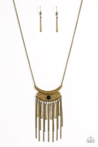 Paparazzi Take ZEN - Brass - Pendant Fringe - Necklace and matching Earrings - Lauren's Bling $5.00 Paparazzi Jewelry Boutique