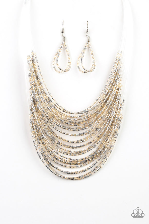Paparazzi Catwalk Queen - Multi - Metallic Gold and Silver Seed Beads - Necklace and matching Earrings