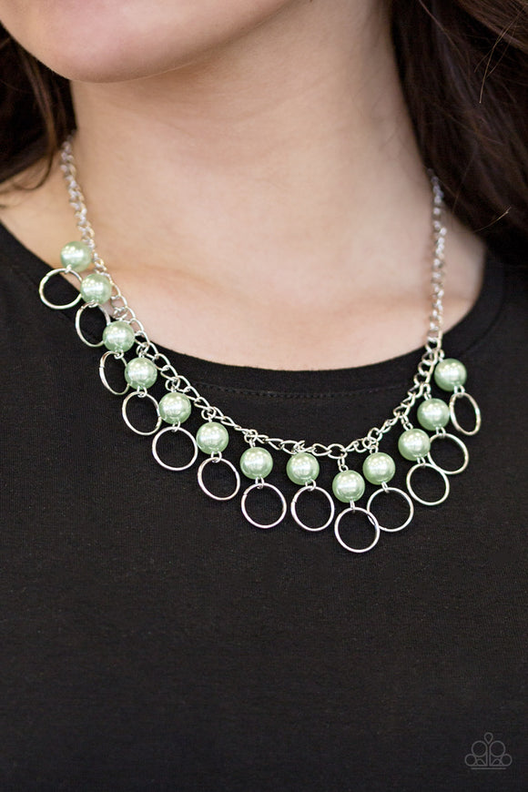 Paparazzi Run The Show - Green Pearls - Silver Necklace and matching Earrings - Lauren's Bling $5.00 Paparazzi Jewelry Boutique