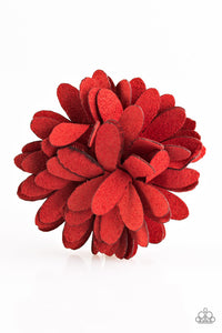 Paparazzi Sunshine and Suede - Red Hair Clip - Lauren's Bling $5.00 Paparazzi Jewelry Boutique