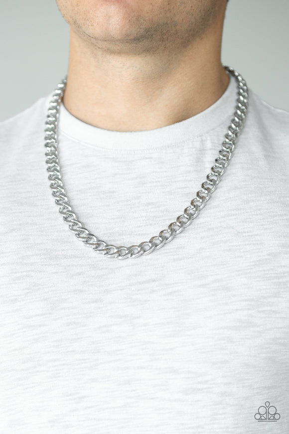 Paparazzi Alpha - Silver - Curb Thick Chain - Necklace - Men's Collection