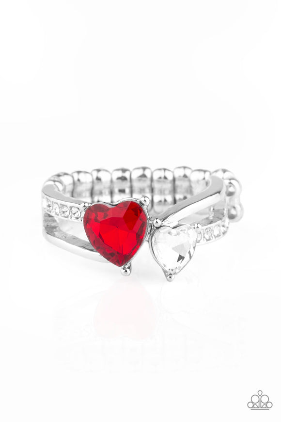Paparazzi Always Adored - Red - White Heart Shaped Rhinestones - Silver Dainty Band Ring