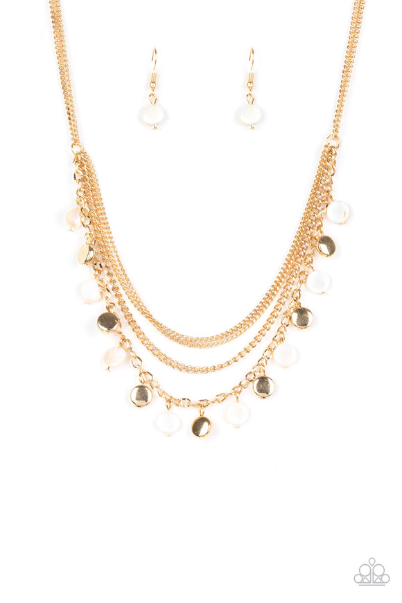 Paparazzi Beach Flavor - Gold - Shell Like Beads - Necklace & Earrings