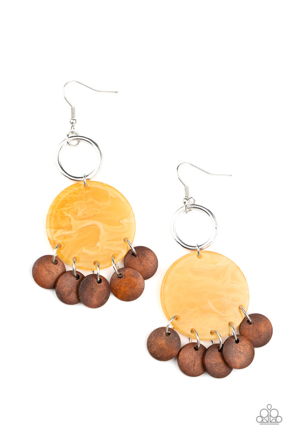 Paparazzi Beach Waves - Yellow - Brown Wooden Discs - Silver Earrings
