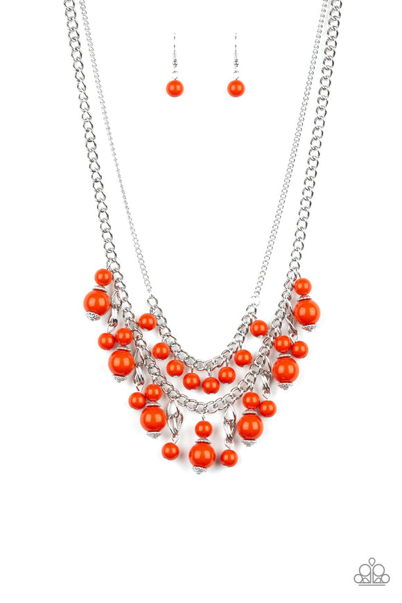 Paparazzi Beautifully Beaded - Orange Beads - Silver Chains - Necklace and matching Earrings - Lauren's Bling $5.00 Paparazzi Jewelry Boutique