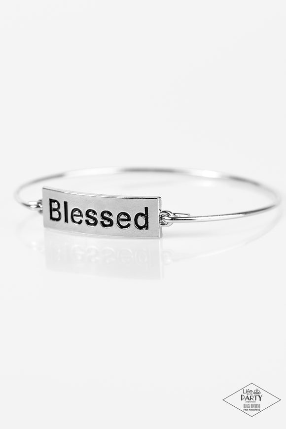 Paparazzi Blessed - Silver Plate and Bar - Bangle Bracelet - Black Diamond Exclusive