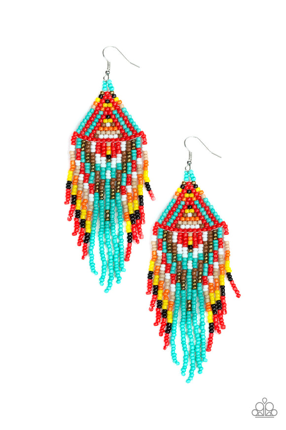 Paparazzi Boho Blast - Blue - Black, Brown, Orange, White, Red and Yellow Seed Beads - Earrings