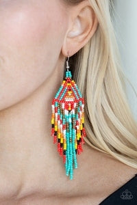 Paparazzi Boho Blast - Blue - Black, Brown, Orange, White, Red and Yellow Seed Beads - Earrings - Lauren's Bling $5.00 Paparazzi Jewelry Boutique