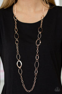 Paparazzi Chain Cadence - Rose Gold - Bold Chain Necklace and matching Earrings - Lauren's Bling $5.00 Paparazzi Jewelry Boutique