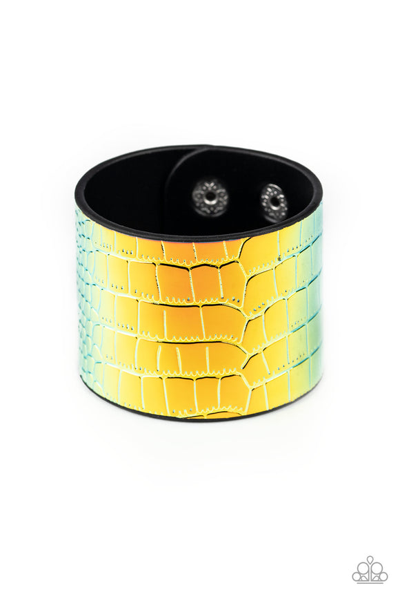 Paparazzi Chroma Croc - Multi - Rainbow Croc Pattern - Leather Band - Snap Bracelet - Lauren's Bling $5.00 Paparazzi Jewelry Boutique