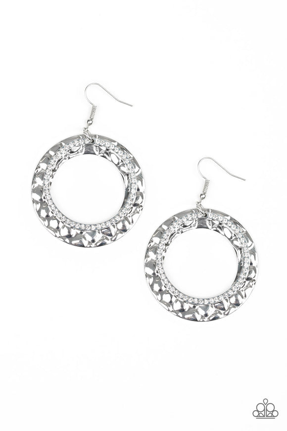 Paparazzi Cinematic Shimmer - White Rhinestones - Silver Thick Hoop - Earrings - Life of the Party Exclusive September 2019