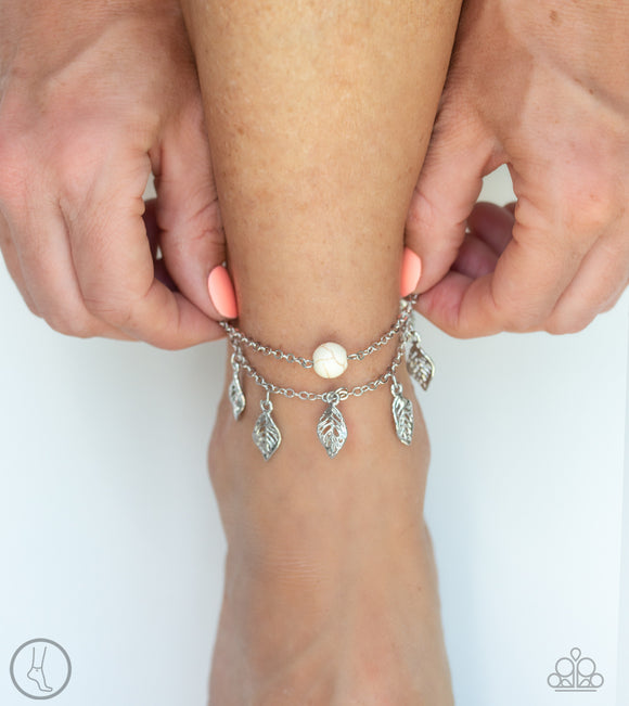 Paparazzi Earthy Explorer - White Stone - Two Strands Silver Leaf Chains - Ankle Bracelet - Anklet