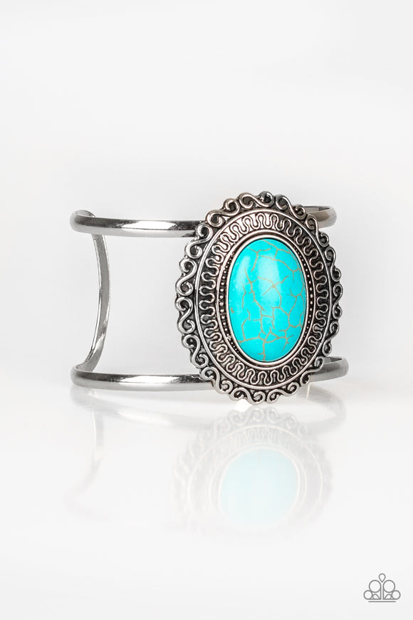 Paparazzi Extra EMPRESS-ive - Blue Turquoise Stone - Silver Filigree Cuff