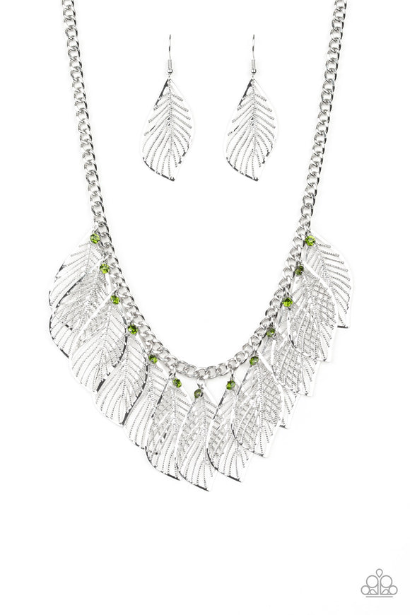 Paparazzi Feathery Foliage - Green Rhinestones - Leafy Silver Feathers - Necklace and matching Earrings - Lauren's Bling $5.00 Paparazzi Jewelry Boutique