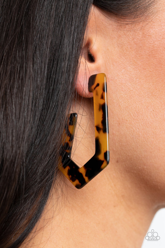 Paparazzi Flat Out Fearless - Multi - Tortoise Shell Pattern - Hoop Earrings - Lauren's Bling $5.00 Paparazzi Jewelry Boutique