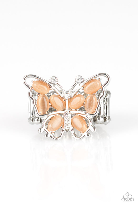Paparazzi Flutter Flair - Orange / Coral - Moonstone - White Rhinestone Butterfly Ring