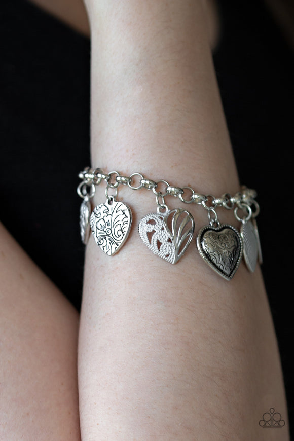 Paparazzi Garden Hearts - White - Silver Hearts, Tree of Life Charms - Adjustable Bracelet