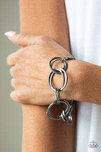 Paparazzi Give Me A Ring - Black Gunmetal - Double Hoops - Bracelet - Lauren's Bling $5.00 Paparazzi Jewelry Boutique