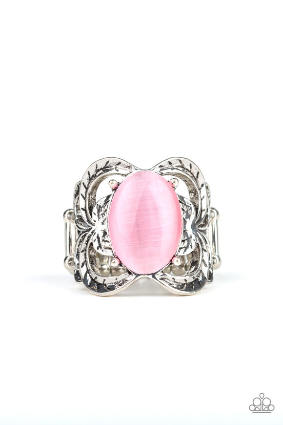 Paparazzi Go For Glow - Pink - Cat's Eye Moonstone - Leafy Details - Ring