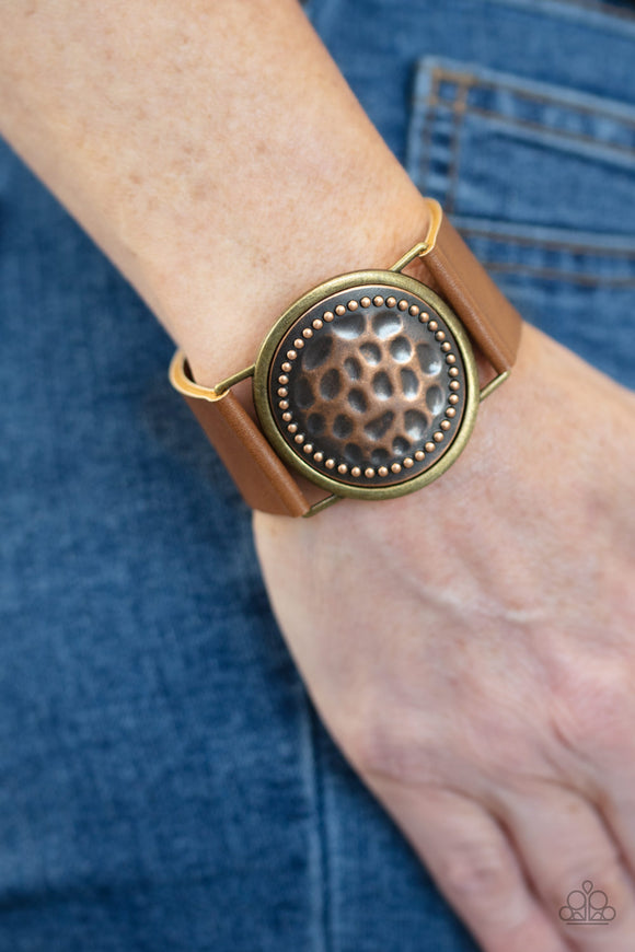 Paparazzi Hold On To Your Buckle - Copper - Leather Bracelet