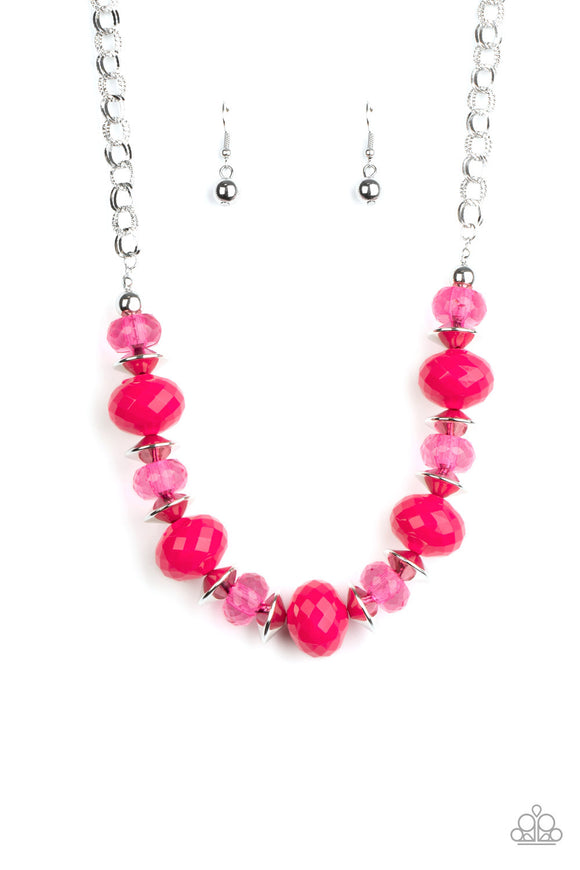 Paparazzi Hollywood Gossip - Pink Beads - Necklace & Earrings