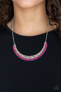 Paparazzi Impressive - Pink Rhinestones - Silver Hammered Necklace and matching Earrings - Lauren's Bling $5.00 Paparazzi Jewelry Boutique