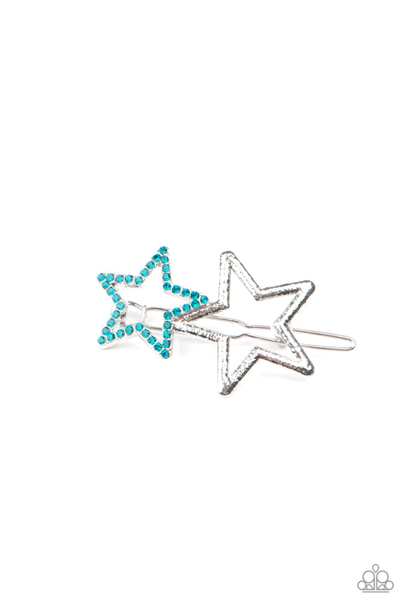 Paparazzi Lets Get This Party STAR-ted! - Blue Rhinestones - Hair Clip