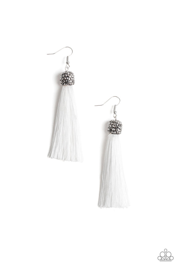 Paparazzi Make Room For Plume - White Thread / Tassel / Fringe - Hematite Rhinestones - Gunmetal Beads - Earrings