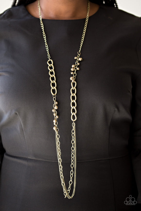 Paparazzi Mega Megacity - Brass - Beads and Chains - Necklace & Earrings - Lauren's Bling $5.00 Paparazzi Jewelry Boutique