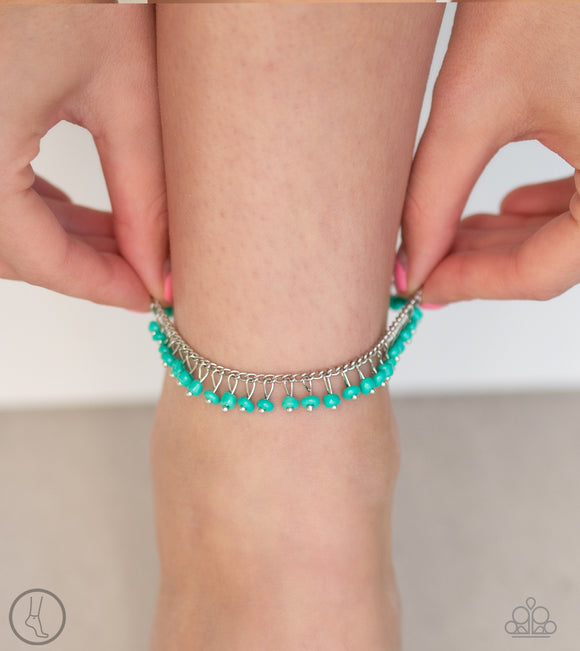 Paparazzi Mermaid Mix - Blue / Turquoise Seed Beads - Silver Chain - Ankle Bracelet - Anklet