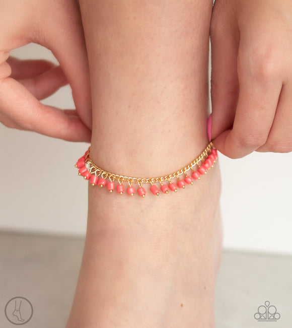 Paparazzi Mermaid Mix - Orange / Coral Seed Beads - Ankle Bracelet - Anklet