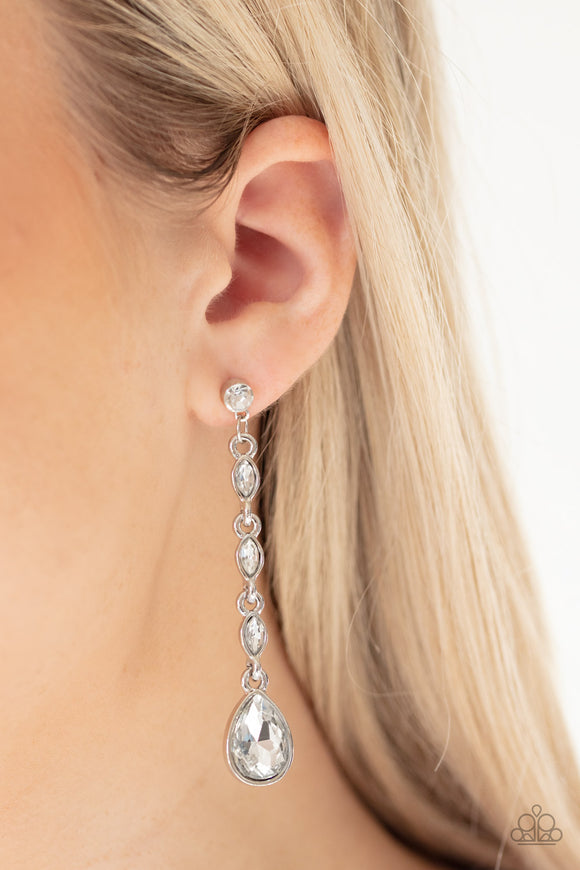 Paparazzi Must Love Diamonds - White - Post Earrings - Life of the Party Exclusive April 2020
