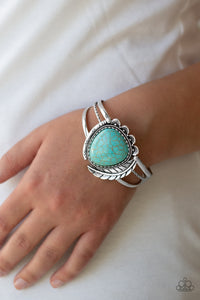 Paparazzi Natures Bounty - Blue Turquoise Stone - Silver Feather - Cuff Bracelet - Lauren's Bling $5.00 Paparazzi Jewelry Boutique