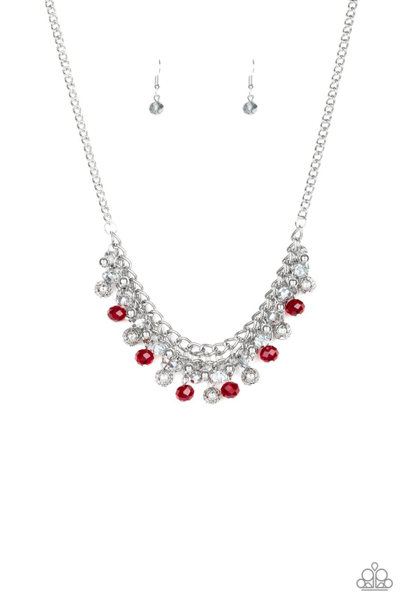 Paparazzi Party Spree - Red - Metallic, Silver and Glittery Beads - Necklace and matching Earrings - Lauren's Bling $5.00 Paparazzi Jewelry Boutique