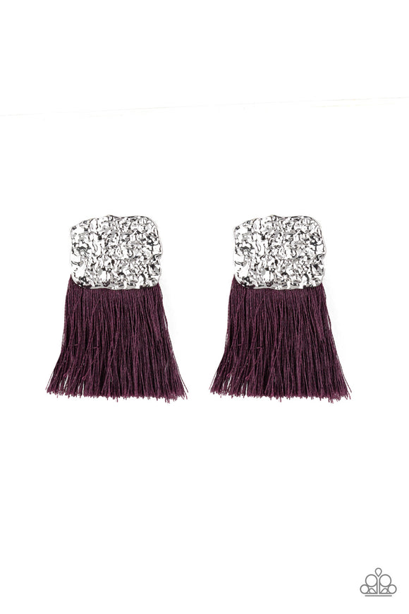 Paparazzi Plume Bloom - Purple - Thread / Fringe / Tassel - Hammered Silver Frame - Post Earrings