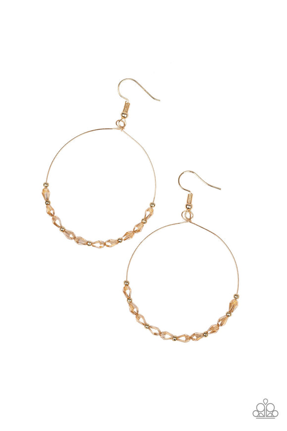 Paparazzi Prize Winning Sparkle - Gold - Hoop Earrings - Lauren's Bling $5.00 Paparazzi Jewelry Boutique