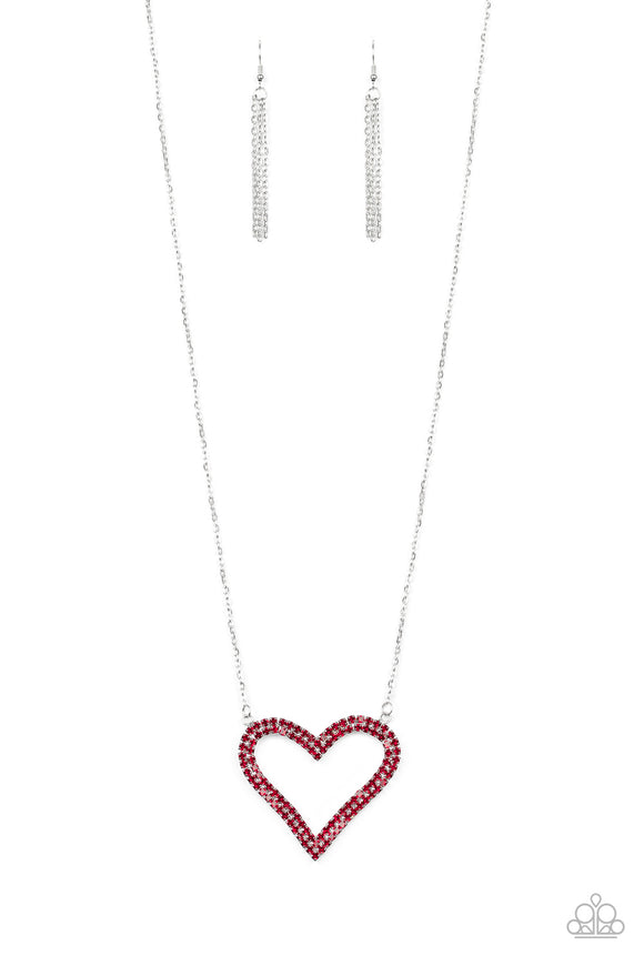 Paparazzi Pull Some HEART-strings - Red Rhinestones - Heart Pendant - Necklace & Earrings