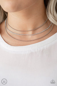 Paparazzi Retro Minimalism - White - Rhinestones - Silver Ball Chains - Choker Necklace and matching Earrings - Lauren's Bling $5.00 Paparazzi Jewelry Boutique