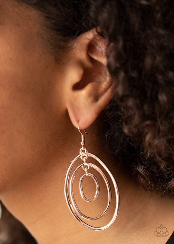 Paparazzi Retro Ruins - Rose Gold - Oval Links - Earrings