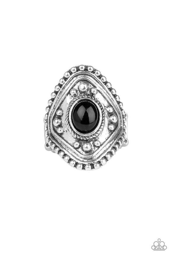 Paparazzi Rogue Ramble - Black Bead - Silver Frame Stretchy Band Ring - Lauren's Bling $5.00 Paparazzi Jewelry Boutique