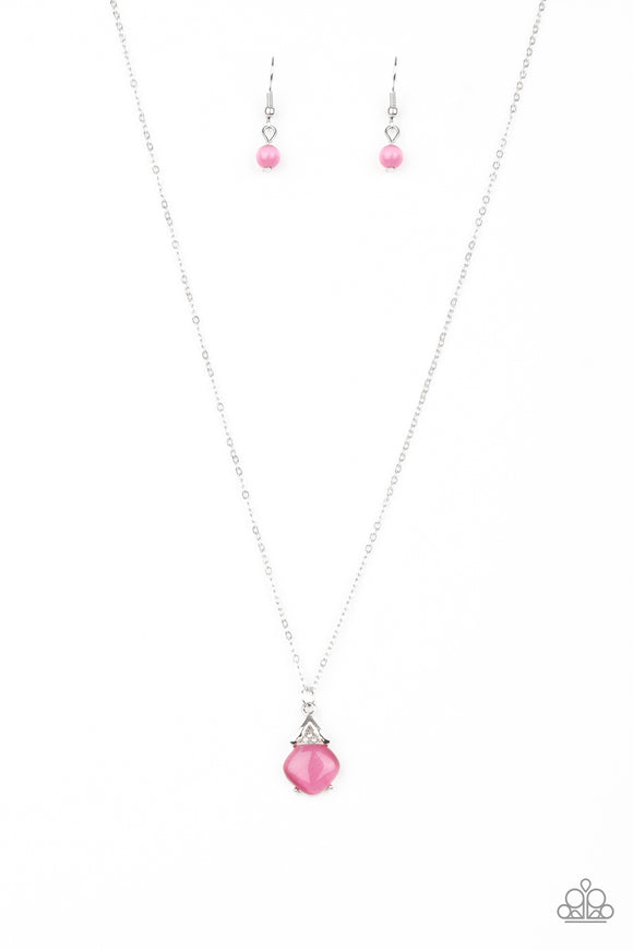 Paparazzi Romantic Razzle - Pink - Cat's Eye Moonstone - Necklace and matching Earrings