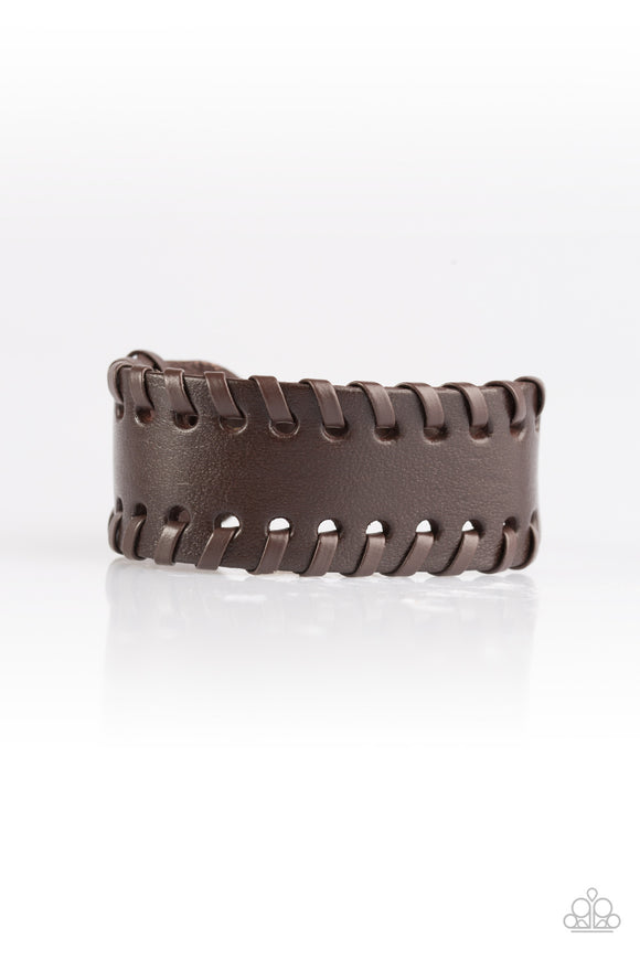 Paparazzi Rugged Roadways - Brown Leather - Urban Bracelet - Lauren's Bling $5.00 Paparazzi Jewelry Boutique