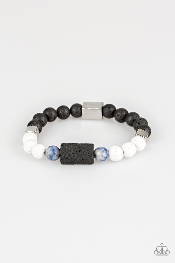 Paparazzi Run Out The BLOCK - Blue Stone Beads - Lava Rocks - Bracelet