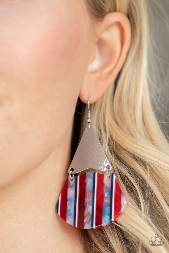 Paparazzi Social Animal - Red - White & Blue Stripes - Iridescent Shell - Earrings - Lauren's Bling $5.00 Paparazzi Jewelry Boutique