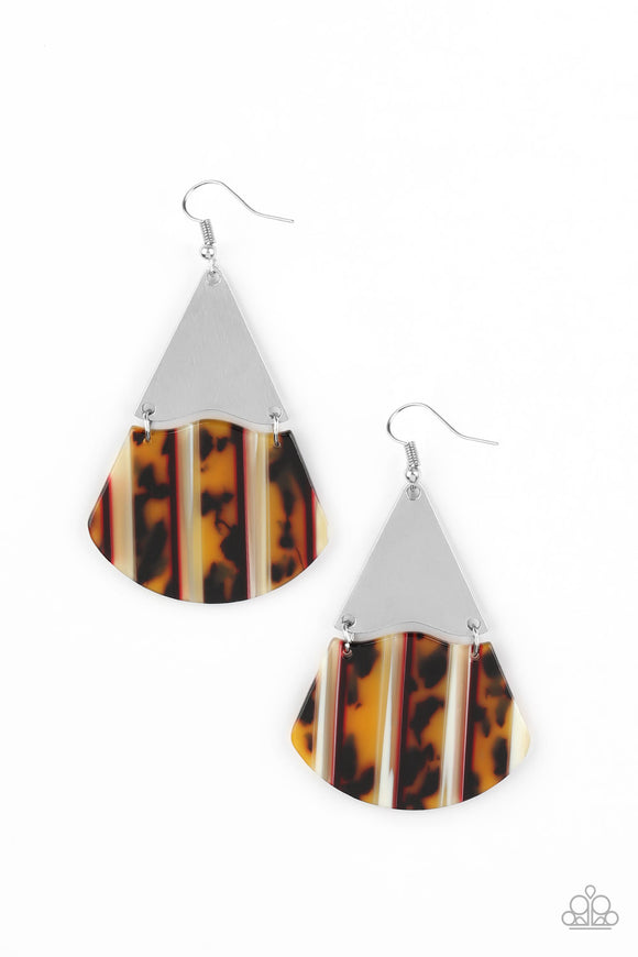 Paparazzi Social Animal - Yellow - and Brown Tortoise Shell - Earrings